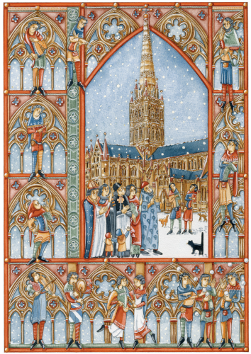 A SALISBURY CHRISTMAS - Salisbury Cathedral was built between 1220 and 1258. The tower and spire were added a century later during the incumbency of Bishop Wyvil (1330-1375).